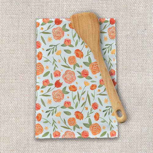 Burnt Orange Floral Pattern Tea Towel