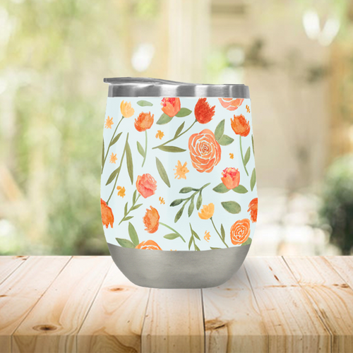 Burnt Orange Floral Pattern Stemless Wine Tumbler