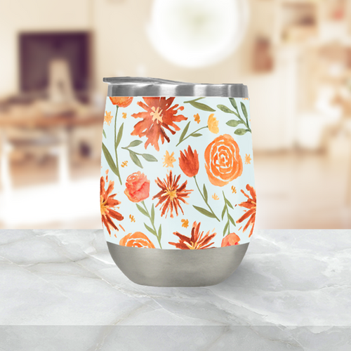Burnt Orange Flower Burst Pattern Stemless Wine Tumbler