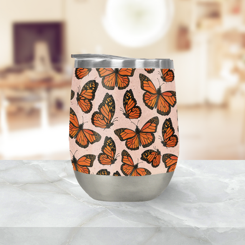 Butterfly Watercolor Stemless Wine Tumblers