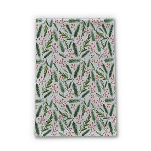 Christmas Branch Pattern Tea Towel