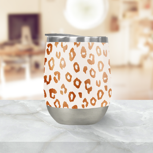 Copper Leopard Print Stemless Wine Tumbler