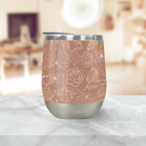 Copper Magnolia Stemless Wine Tumblers