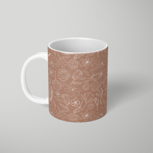 Copper Magnolia Pattern - Mug