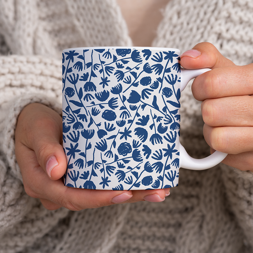 Dark Blue Floral Pattern - Mug