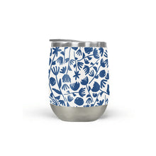 Load image into Gallery viewer, Dark Blue Floral Pattern Stemless Wine Tumbler