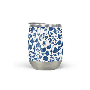 Dark Blue Floral Pattern Stemless Wine Tumbler