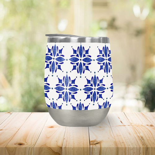 Dark Blue Tile Stemless Wine Tumbler