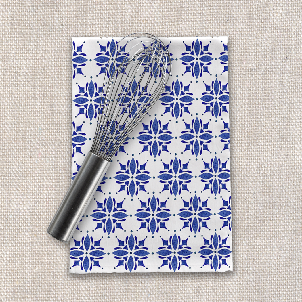 Dark Blue Tile Tea Towel