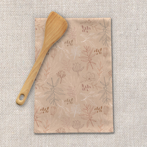 Desert Leaf Pattern Tea Towels