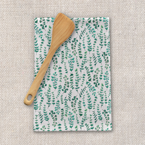 Eucalyptus Watercolor Tea Towel