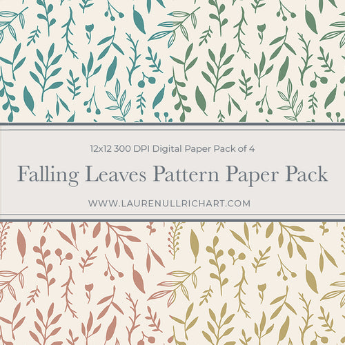 Falling Leaves Pattern Digital Paper Pack