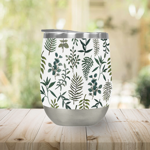 Fern Watercolor Stemless Wine Tumbler