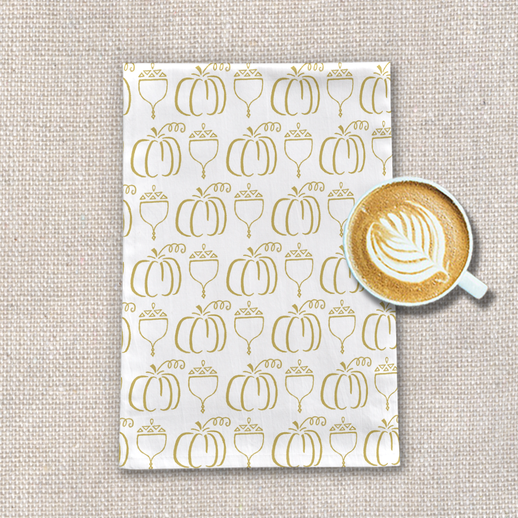 Gold Pumpkin Pattern Tea Towel