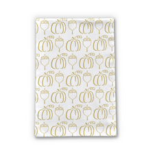 Load image into Gallery viewer, Gold Pumpkin Pattern Tea Towel