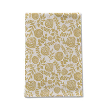 Load image into Gallery viewer, Gold Floral Pattern Tea Towel