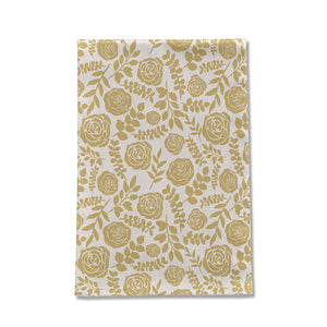 Gold Floral Pattern Tea Towel