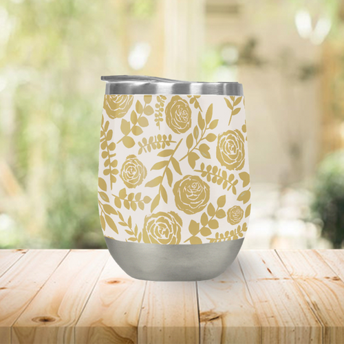 Gold Floral Pattern Stemless Wine Tumbler
