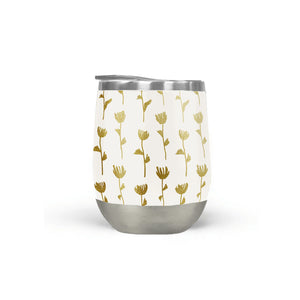Gold Ink Flower Pattern Stemless Wine Tumbler