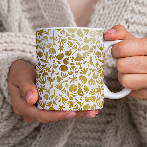 Gold Ink Floral Pattern - Mug