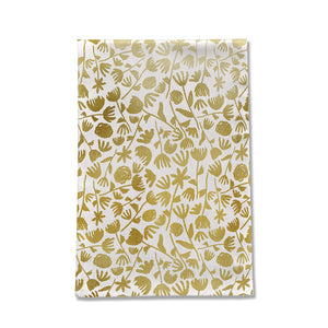 Gold Ink Floral Pattern Tea Towel