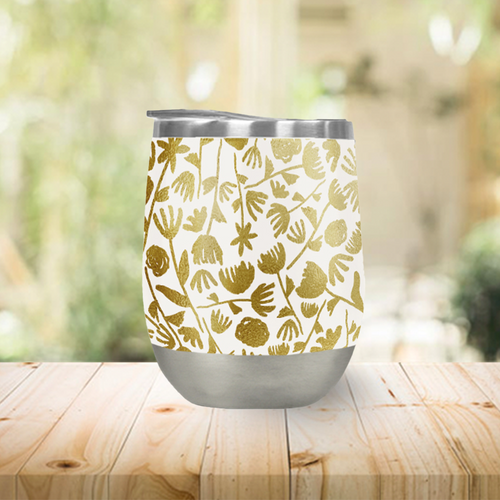 Gold Ink Floral Pattern Stemless Wine Tumbler