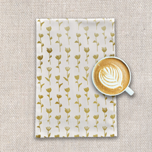 Load image into Gallery viewer, Gold Ink Flower Pattern Tea Towel