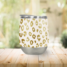 Load image into Gallery viewer, Gold Leopard Print Stemless Wine Tumbler