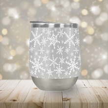 Load image into Gallery viewer, Gray Snowflakes Stemless Wine Tumbler