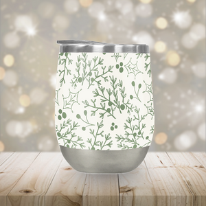 Green Christmas Branch Stemless Wine Tumbler