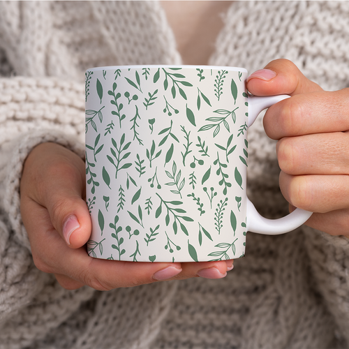 Green Falling Leaves Pattern - Mug