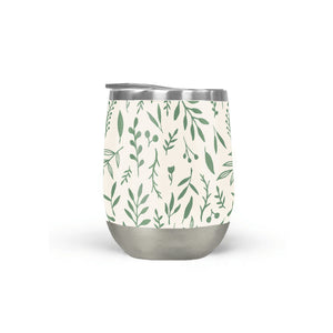 Green Falling Leaves Stemless Wine Tumblers
