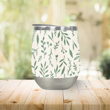 Load image into Gallery viewer, Green Falling Leaves Stemless Wine Tumblers