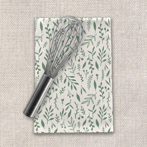 Green Falling Leaves Tea Towels