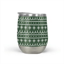 Load image into Gallery viewer, Green Snowflake Pattern Stemless Wine Tumbler