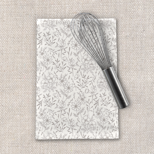 Ivory Flower Tea Towel