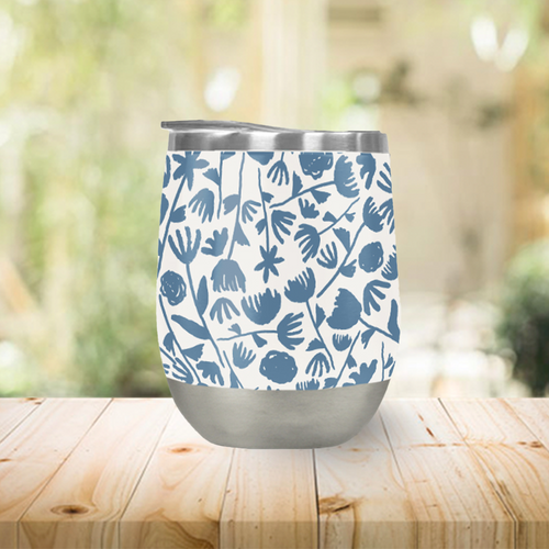 Light Blue Floral Pattern Stemless Wine Tumblers