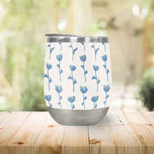 Load image into Gallery viewer, Light Blue Flower Pattern Stemless Wine Tumbler