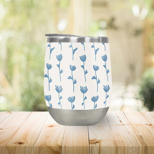 Light Blue Flower Pattern Stemless Wine Tumbler