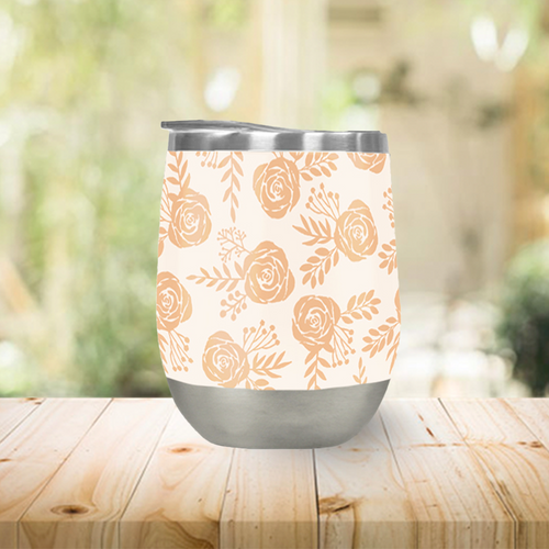 Light Orange Floral Stemless Wine Tumblers