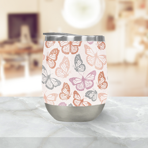 Orange and Pink Butterfly Stemless Wine Tumblers