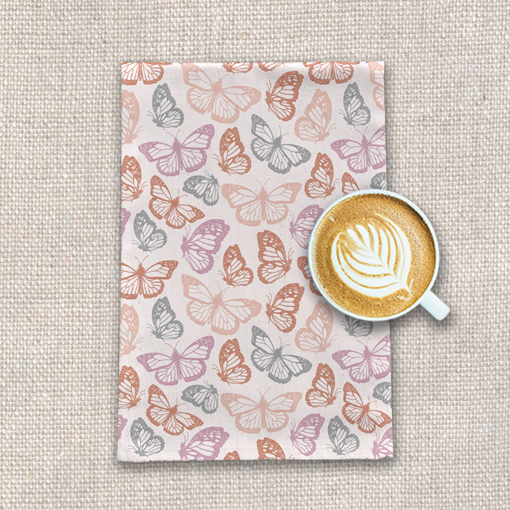 Orange and Pink Butterfly Tea Towel