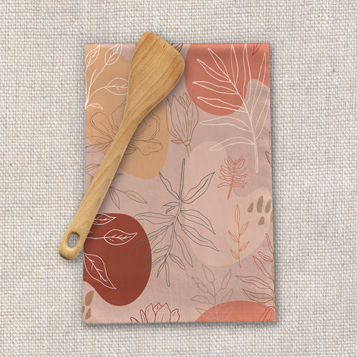 Pink Abstract Desert Tea Towel