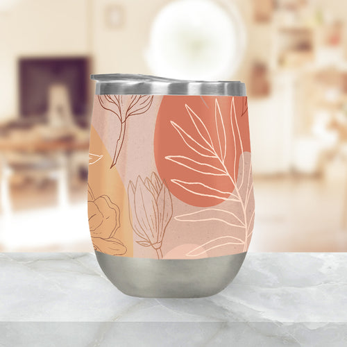 Pink Abstract Desert Stemless Wine Tumbler