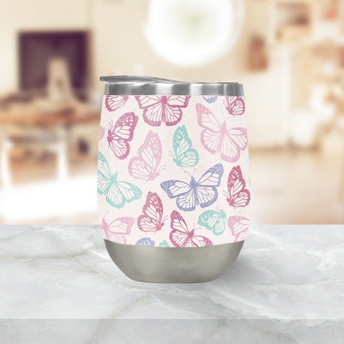 Pink Butterfly Stemless Wine Tumblers
