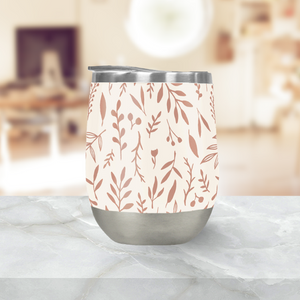 Pink Falling Leaves Stemless Wine Tumblers