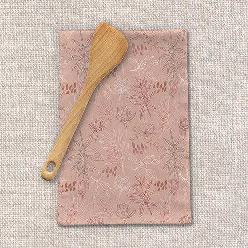 Pink Desert Leaf Tea Towel