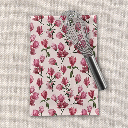 Pink Magnolia Blossoms Tea Towel
