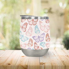 Load image into Gallery viewer, Rainbow Butterfly Stemless Wine Tumblers