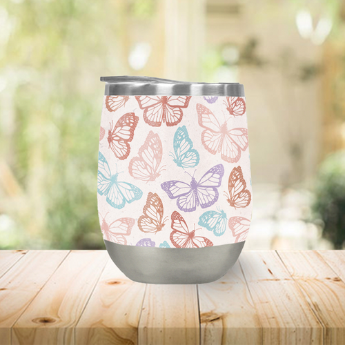 Rainbow Butterfly Stemless Wine Tumblers